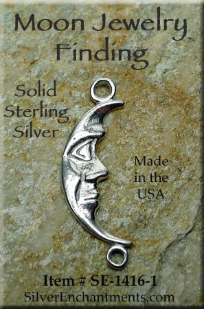Sterling Silver Moon Jewelry Link Connector, Crescent Moon Jewelry Findings (1)