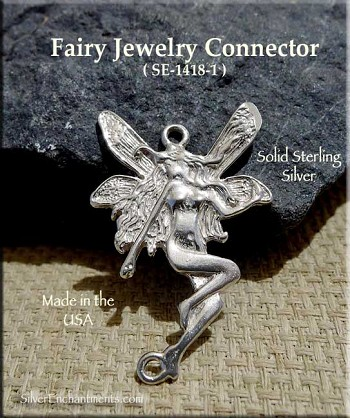 Sterling Silver Fairy Connector, 27x18mm Fairy Jewelry Finding