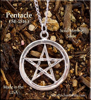Sterling Silver Classic Pentacle Pendant, 25mm Pentagram Necklace, Wiccan Jewelry