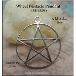 Sterling Silver Wheel Pentacle Pendant, 36x30mm