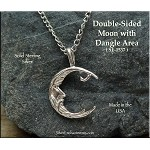 Sterling Silver Bailed Double-Sided Moon with Dangle Area