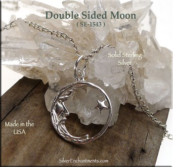 Sterling Silver Double Sided Moon Charms, Moon Jewelry, Moon Necklace