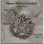 Sterling Silver Flower Pentacle Pendant, 28x24mm