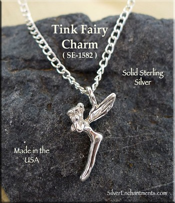 Sterling Silver Tinkerbell Charm, Fairy Necklace