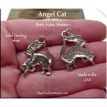 Sterling Silver Angel Cat Pendant Cat with Angel Wings Necklace Pendant Cat Memorial
