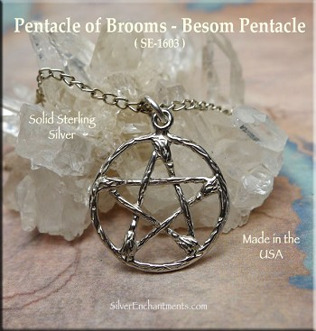 Sterling Silver Pentacle of Besoms Charm Necklace, Broom Pentacle Necklace Pendant, Pagan Jewelry