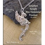 Sterling Silver Large Gryphon Pendant, Griffin Jewelry, Grphon Necklace
