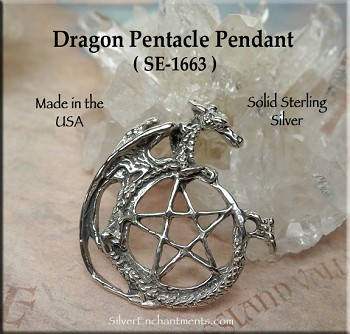Sterling Silver Dragon Pentacle Pendant, Pentagram with Dragon Necklace