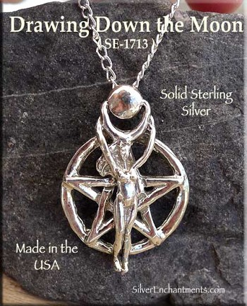 Sterling Silver Drawing Down the Moon Pentacle Pendant, Pagan Jewelry