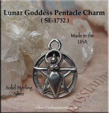 Sterling Silver Goddess Pentacle Charm, 14mm Goddess Jewelry, Pagan Jewelry