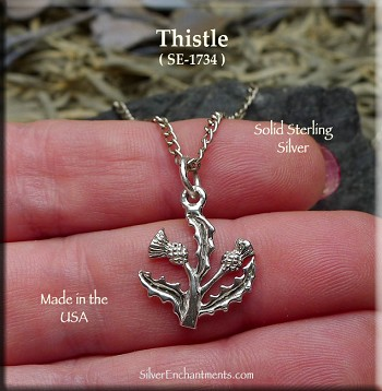 Sterling Silver Scottish Thistle Charm, Thistle Necklace, Scotland Jewelry