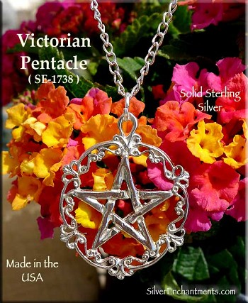 Sterling Silver Victorian Pentacle Necklace, Filigree Pentagram Pendant, Pagan Jewelry
