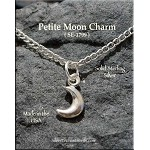 Sterling Silver Small Crescent Moon Charm, 3D, 11x6mm