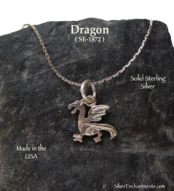 Sterling Silver Dragon Charm, Dragon Necklace, Classic Dragon Jewelry