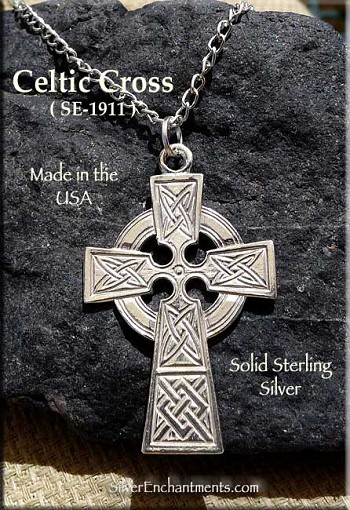 Sterling Silver Celtic Cross Pendant, Celtic Cross Necklace