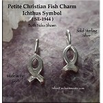 Sterling Silver Christian Fish Charm, Small Ichthus Charm, Christian Jewelry