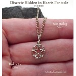 Sterling Silver Discrete Pentacle Charm, Hidden in Hearts Pentacle Necklace