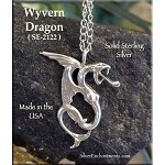 Sterling Silver Dragon Pendant, Wyvern Dragon Jewelry