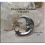 Sterling Silver Crescent Elf Moon Charm Pendant with Hidden Bail