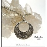 Sterling Silver Celtic Moon Charm, Celtic Moon Jewelry