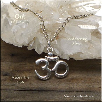 Sterling Silver Om Charm, Om Meditation Jewelry