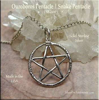Sterling Silver Ouroboros Pentacle Charm, Snake Pentacle Necklace Pendant - Pagan Jewelry