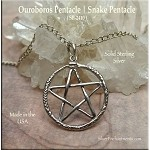 Sterling Silver Ouroboros Pentacle Charm, Snake Pentacle Charm