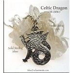 Sterling Silver Celtic Dragon Pendant, Celtic Dragon Necklace, Dragon Jewelry