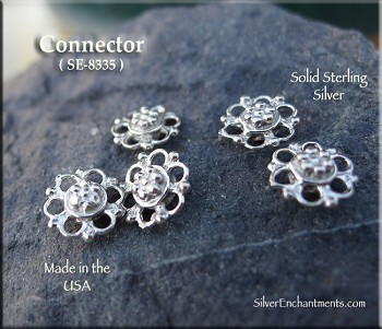 Sterling Silver Fancy Jewelry Connector, Small Jewelry Centerpiece, 9mm