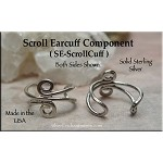 Sterling Silver Scroll Ear Cuff Jewelry Findings, Earcuff Parts, 1pc
