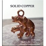 Copper 3D Naughty Bears Pendant, Raw Copper Casting