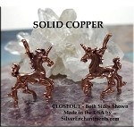 Copper 3D Unicorn Pendant, Solid Copper Raw Casting
