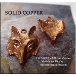 Copper Fox Pendant, 29x22mm, Raw Copper Casting