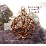 Copper Celtic Cernunnos Horned God Pendant, Raw Copper Casting