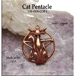 Copper Cat Pentacle, Raw Copper Casting