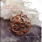 Copper Dragon Pentacle Pendant, Raw Copper Casting