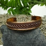 Copper Cuff Bracelet, Twisted Rope and Braided Pattern