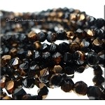 Czech Glass 4mm English Cut Round Beads, Jet Gold Vitrail