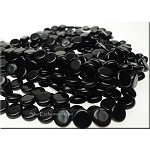 Czech Glass Beads, 8mm Dime Beads, Jet Black