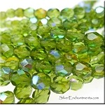 Olivine AB 6mm Fire Polished Beads, Czech Glass