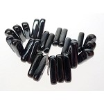 Czech Glass Beads, Two-Hole Bar Beads, Metallic Hematite, 13x3x4mm