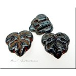 BLACK PICASSO 2-Hole Maple Leaf Beads, Czech Glass Leaf Beads