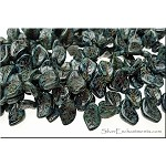 BLACK Picasso Czech Glass Leaf Beads