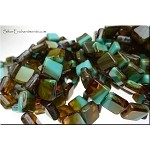 TURQUOISE BROWN TOPAZ Tile Beads