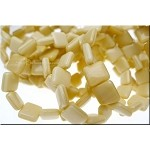 Czech Glass Beads, Ivory-Bone, 10mm Tile Beads