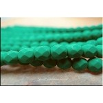 Neon Emerald 6mm Faceted Round Czech Glass Fire Polished Beads Strand