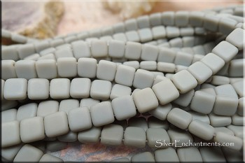 6mm 2-Hole Square CzechMates Czech Glass Tile Beads, MATTE ASH GREY
