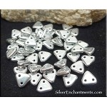 CzechMates Czech Glass Triangle Beads, Metallic SILVER 2-Hole Triangle Beads 6mm