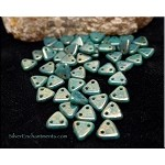 Persian TURQUOISE Bronze PICASSO CzechMates Czech Glass Triangle Beads