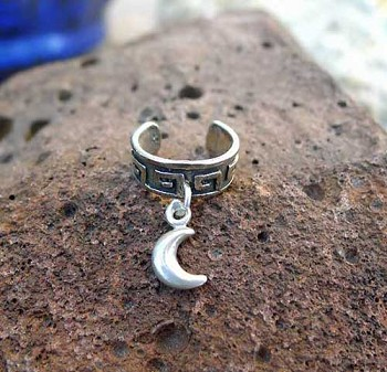 Sterling Silver Celtic Moon Ear Cuff, Crescent Moon